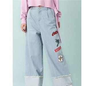 Boyfriend Frayed Edge Wide Leg Jeans